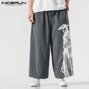 INCERUN Men Wide Leg Pants Cotton Printed Joggers 2020 Elastic Waist Chinese Style Casual Trousers Loose Streetwear Pantalon 5XL