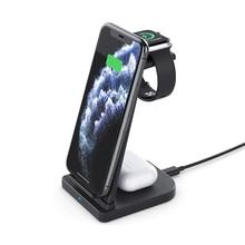 3 In 1พับโทรศัพท์มือถือไร้สายชาร์จ3 In OneสำหรับชุดหูฟังApple Watch ChargerสีดำสีขาวสีDropshpping