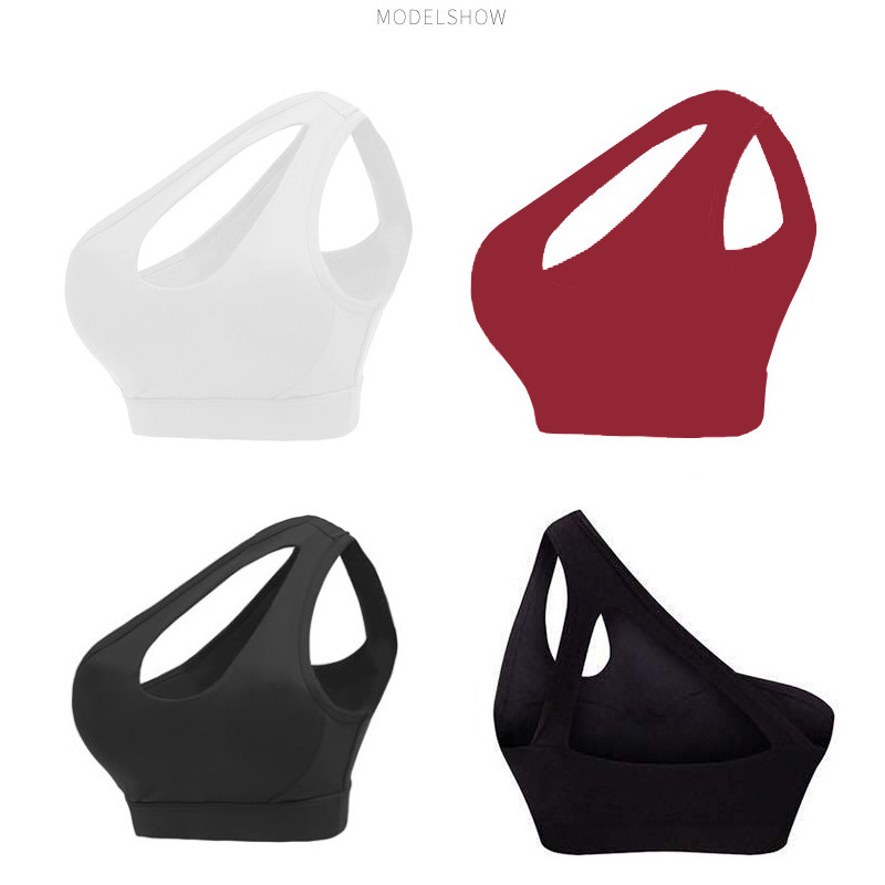 SEXYWG Sport Bra Sexy One Shoulder Solid Yoga Bras Women Gym Shirt Padded Sport Top Push Up Brassiere Athletic Vest Running Crop in Sports Bras from Sports Entertainment