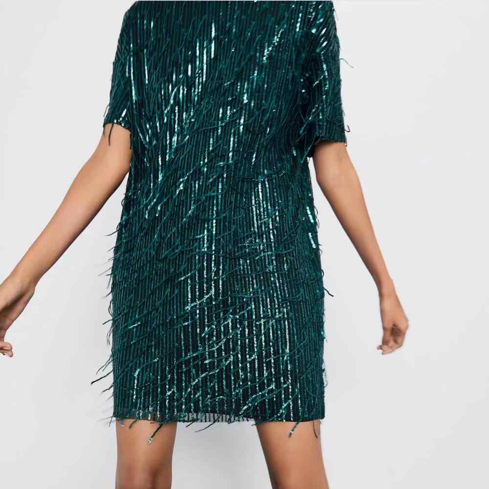 Za vestido feminino 2019 brilhante franjas brilhante chique senhora verde preto streetwear sexy mini clube vestido de festa