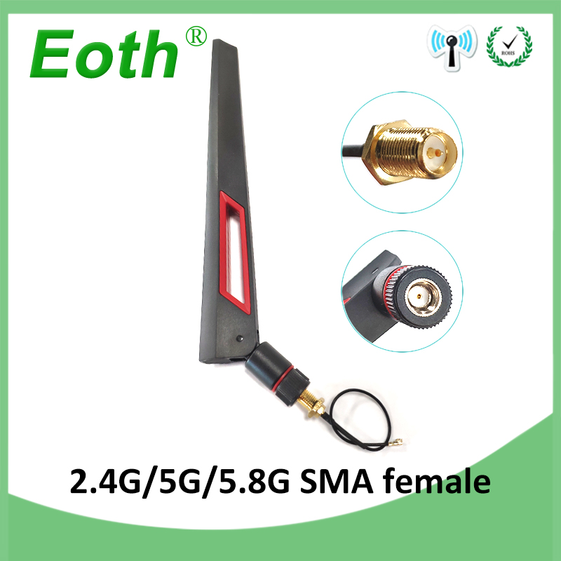 2.4GHz 5GHz 5.8Ghz Antenna Real 8dBi RP-SMA Dual Band 2.4g 5g 5.8g Wifi Antena Aerial SMA Female + Ufl./ IPX 1.13 Pigtail Cable