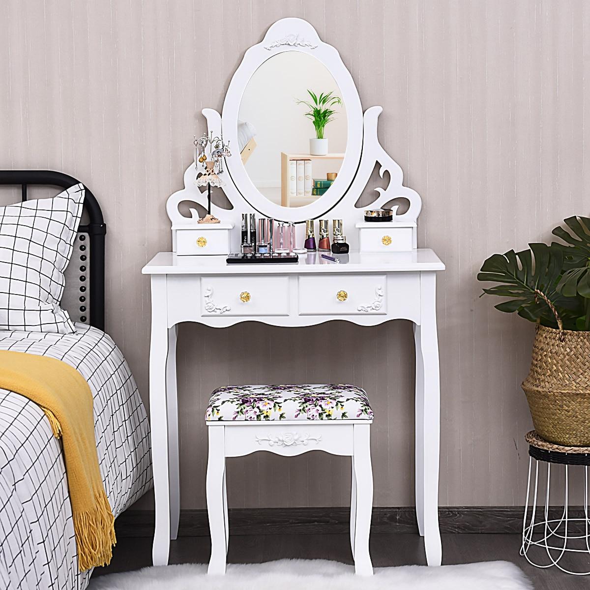 Costway Makeup Table Stool Wood Vanity Dressing Desk Mirror 4 Drawers