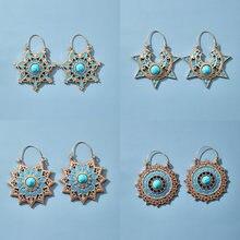 Tocona-Pendientes de piedra colgantes Vintage de Color dorado y azul para mujer, aretes de Mandala con estrella de Metal de aleación, aretes étnicos de aro colgante, joyería Bohemia