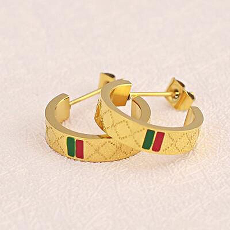 HOT New fashion European and American brand design steel titanium Stud women wearing jewelry earrings girl