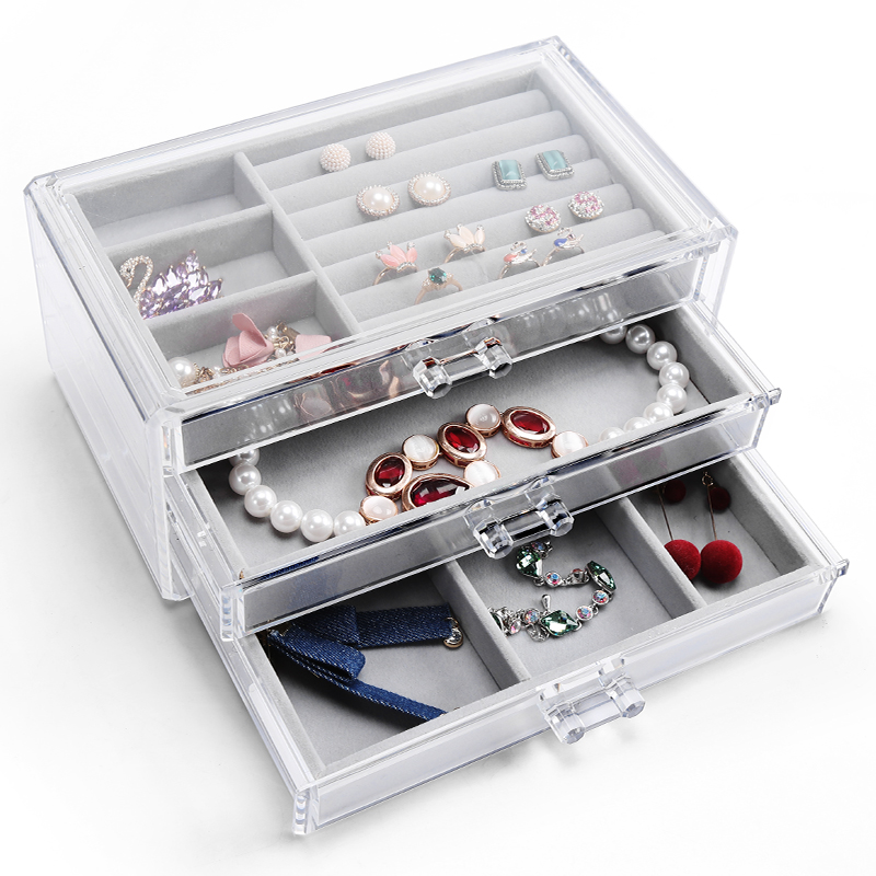 Three-layer drawer organizer transparent jewelry box earring jewelry finishing storage box dustproof desktop cosmetic storage