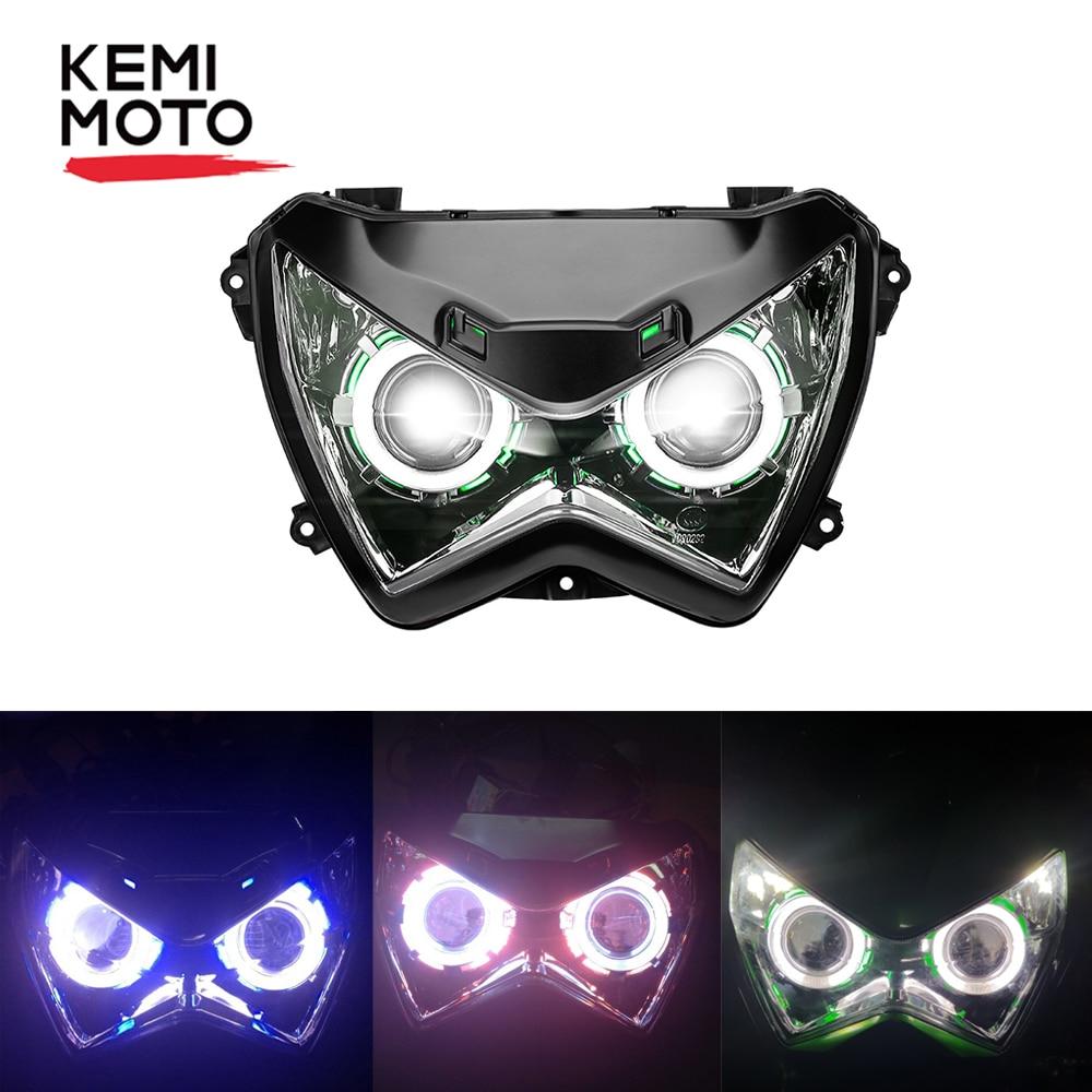 Motorcycle Headlight Halo Eye HID Projector Custom Headlight ABS Assembly for Kawasaki Z800 Z250 2013 2014 2015 2016 Head Lamp