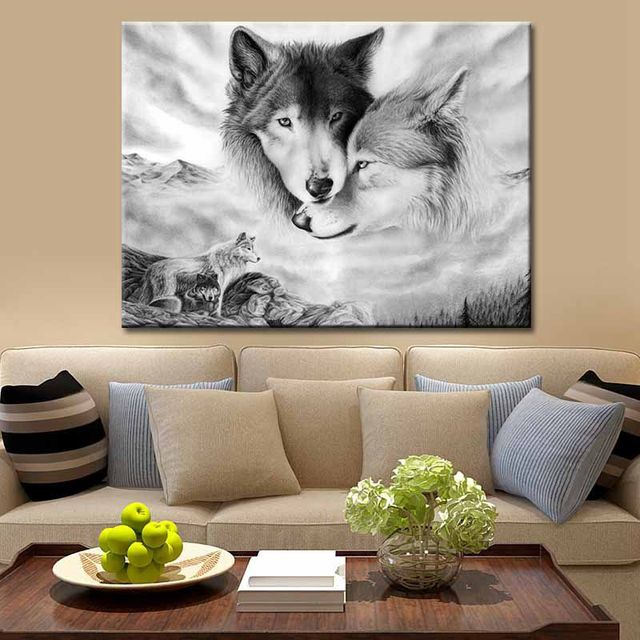 Hot DIY Canvas Wall Art Black And White Wolves Image Printed On Non-Woven Canvas Without Frame