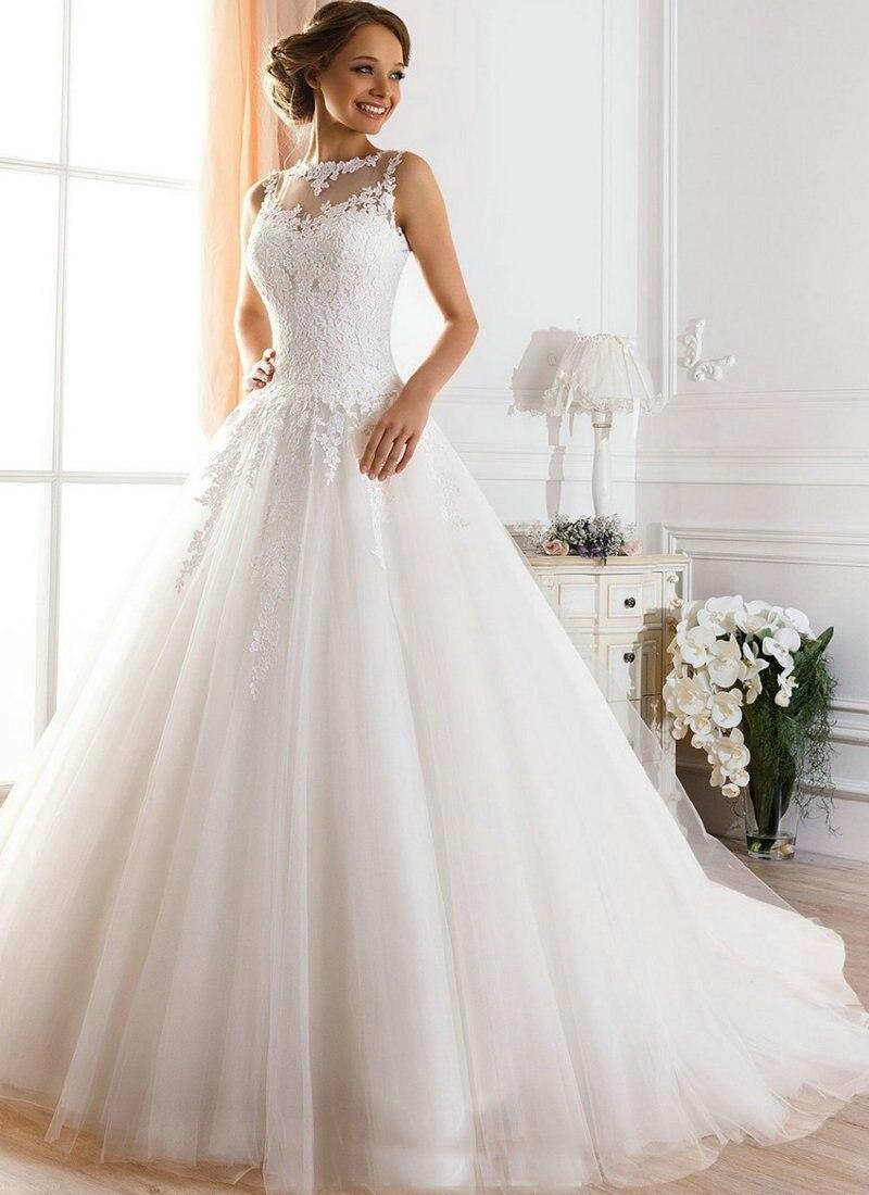 Vestido De Novia A-line Illusion Neckline Sexy Backless Lace 2018 Bridal Gown Vestidos De Casamento Mother Of The Bride Dresses