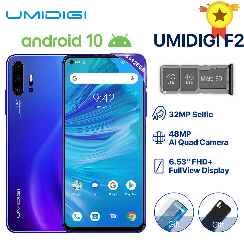 "UMIDIGI F2 Phone Android 10 Global Version 6.53"" FHD+ 6GB 128GB 48MP AI Quad Camera 32MP Selfie Helio P70 Cellphone 5150mAh NFC"