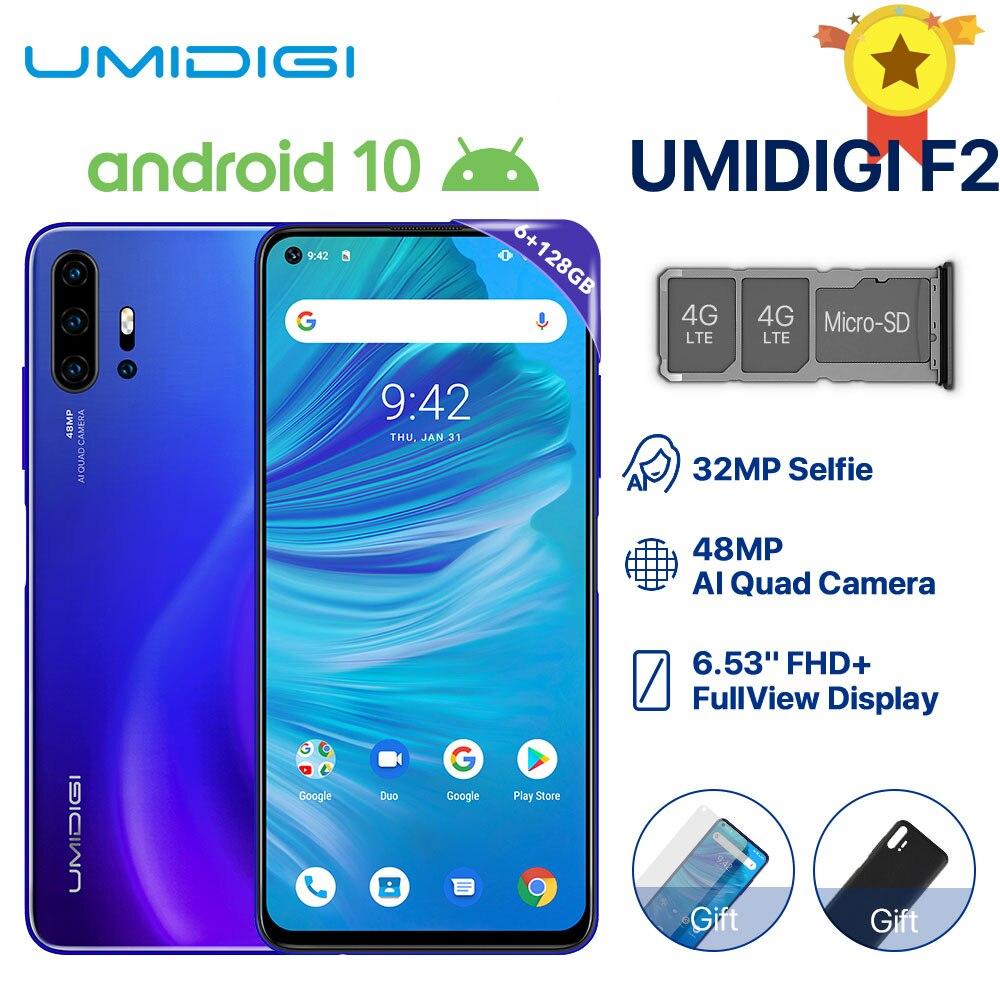 "UMIDIGI F2 telefon Android 10 wersja globalna 6.53 ""FHD + 6GB 128GB 48MP AI Quad Camera 32MP Selfie Helio P70 telefon komórkowy 5150mAh NFC"