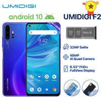 "Umidigi F2 Telefono Android 10 Versione Globale di 6.53 ""Fhd + 6 Gb 128 Gb 48MP Ai Quad Camera 32MP selfie Helio P70 Cellulare 5150 Mah Nfc"