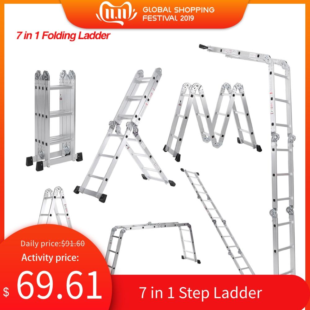 7 in 1 Multi Purpose Step Ladder Aluminum Folding Telescoping Ladder Work Platform Scaffold With Locking Hinge