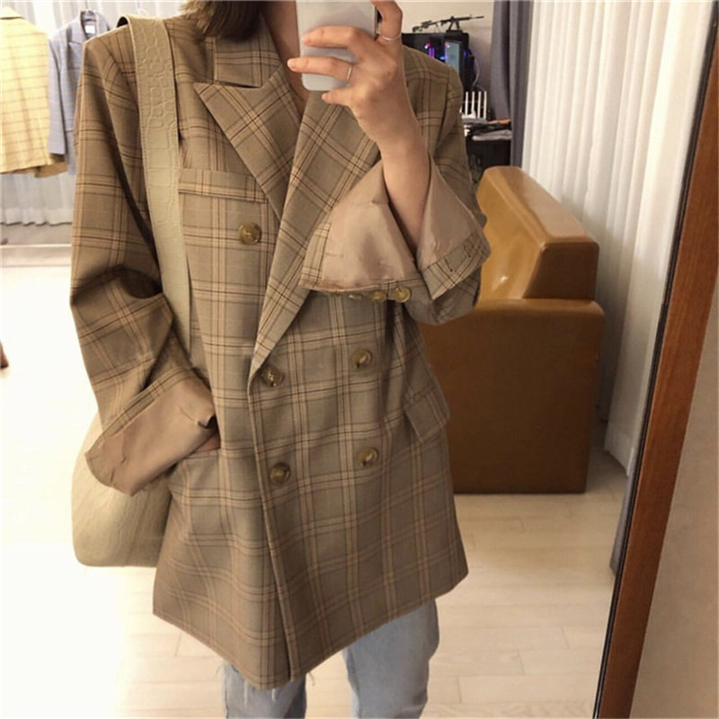 HziriP 2020 Houndstooth Gentle Feminine Casual Geometric Women Loose Vintage Plaid All Match Leisure Elegance Chic OL Blazers