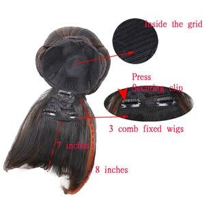 Image 5 - Amir syntetyczne bułeczki do włosów z grzywką Clip in Chignons włókno termoodporne czarne bordowe kolory włosy kucyk dla kobiet