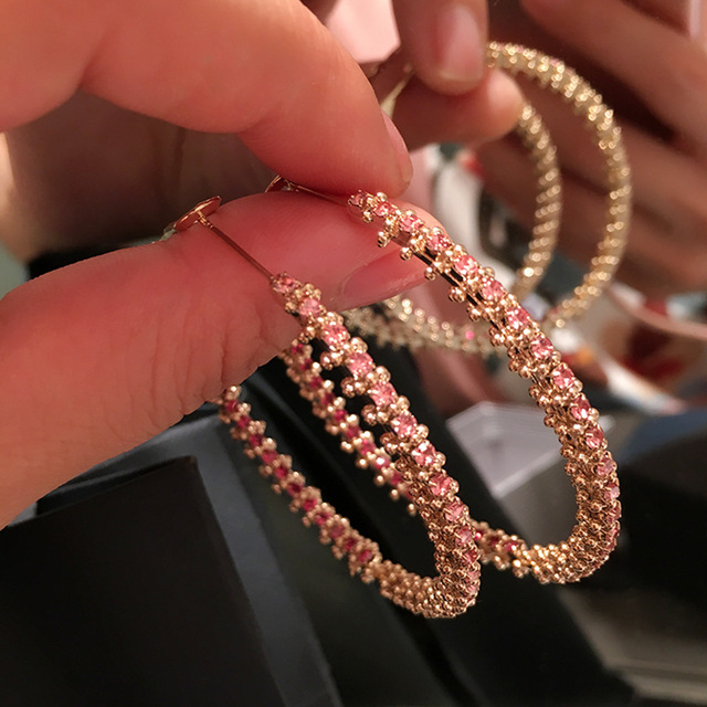 Hip hop set with red diamonds exaggerated earnail feminine temperament high sense ring round face thin.jpg 640x640 - Hip-hop set with red diamonds exaggerated earnail feminine temperament high sense ring round face thin earrings