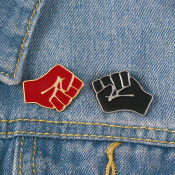 Raising Fist Soft Enamel Brooches Black Red Collar Pins For Clothes Shirt Bag Hat Badge For Friends Communism Solidarity Jewelry image