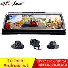 WHEXUNE 2019 новый 4 канальный Автомобильный видеорегистратор, видеорегистратор 4G ADAS Android 10 дюймов, центральное зеркало, GPS WiFi FHD 1080P, видеорегистратор с задней линзой