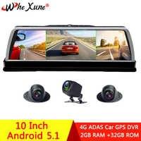 "WHEXUNE 2019 New 4 Channel Car DVR Dashcam 4G ADAS Android 10"" Center console mirror GPS WiFi FHD 1080P Rear Lens Video Recorder"