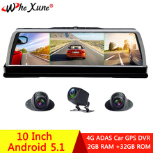 "WHEXUNE 2019 New 4 Channel Car DVR Dashcam 4G ADAS Android 10"" Center console mirror GPS WiFi FHD 1080P Rear Lens Video Recorder"
