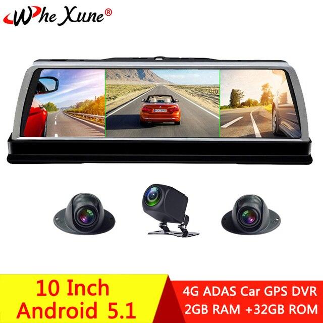 """WHEXUNE 2019 yeni 4 kanal araba dvrı Dashcam 4G ADAS Android 10 """"merkezi konsol aynası GPS WiFi FHD 1080P arka Lens Video kaydedici"""