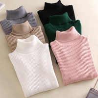 En vente 2019 automne hiver femmes tricoté pull à col roulé décontracté doux polo-cou pull mode Slim Femme élasticité pulls