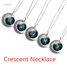 Fashion Silver Plated Crescent Pendant Necklace Jewelry Zodiac Statement Cabochon Glass Necklaces Birthday Gifts For Women Men