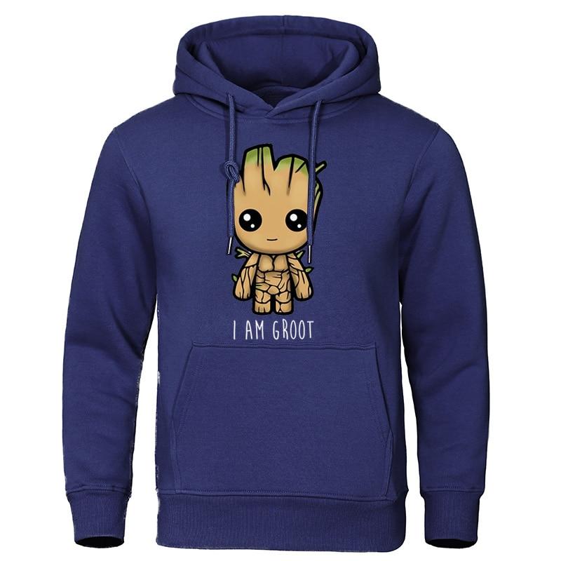 I Am Groot Men's Hoodies Autumn Warm Sweatshirts Casual Streetwear Pullover Harajuku Quality Tops Cute Print Groot Man Tracksuit