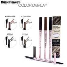 Music Flower бренд 2 в 1 усилитель бровей Карандаш Макияж глаз 3D бровей оттенок натуральный коричневый стойкий водостойкий косметика