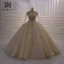 Szata de soiree courte na szyję z długim rękawem koronkowa suknia ślubna z aplikacjami
