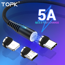 TOPK 5A Magnetic USB C Cable for iPhone Xiaomi Huawei Micro USB Type C Fast Char