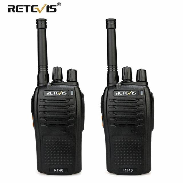 A Pair RETEVIS RT46 Walkie Talkie PMR Radio PMR446/FRS Portable Two Way Radio VOX Micro USB Charging  Li ion (or AA) Battery