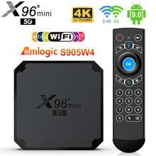 X96 mini 5g caixa de tv android 9.0 amlogic s905w4 quad core a53 4k duplo wifi suporte google voz youtube x96mini conjunto caixa superior