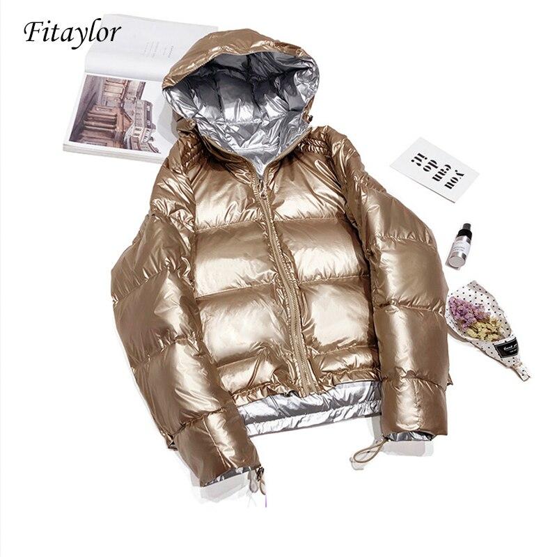 Fitaylor New Double Sided Down Parkas Winter Silver Coats Women Hooded White Duck Down Jacket Zipper Waterproof Outerwear