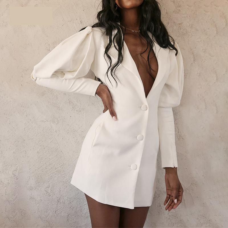 Chic White Casual Blazer Women 2019 Women Blazers And Jackets Office Lady Single Breasted Blazer Mujer Feminino 2019 New AB1726