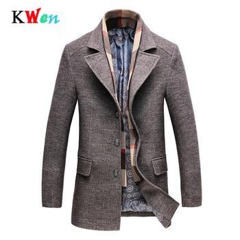 معطف شتوي رجالي جديد غير رسمي من الصوف معطف طويل وسميك مناسب للأعمال التجارية معطف رجالي بمقاس كبير
