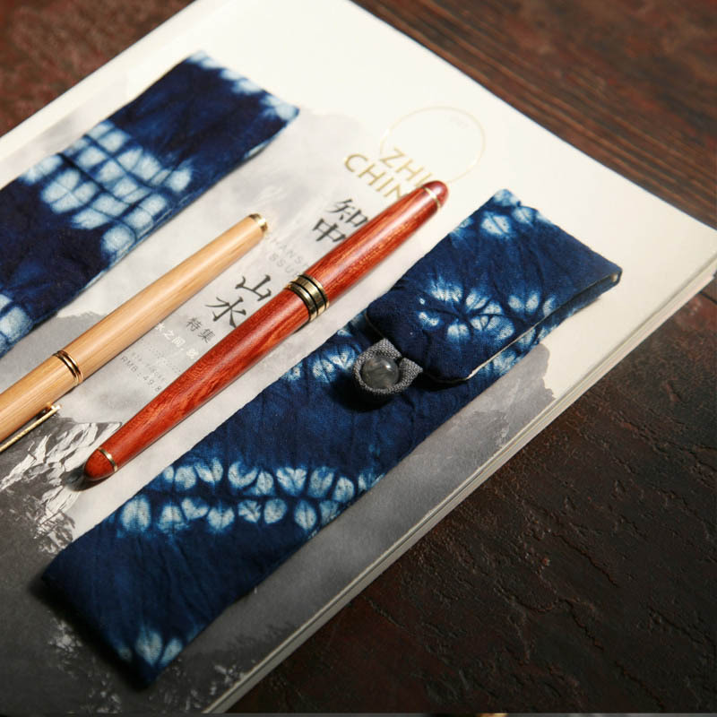 [Qian li] Old Cloth Blue Storage Bag Protective Case Simple Low Profile Fabric Handmade Fountain Pen Pencil Case Multi-Pack