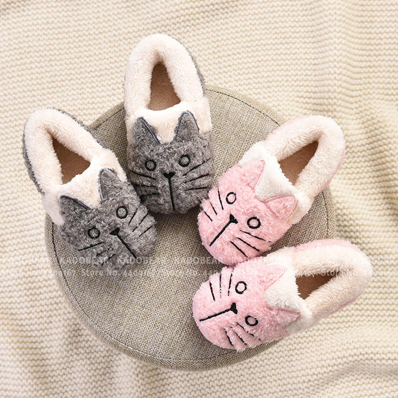 Boy Girl Home Slides Children Fur Plush Winter Warm Slippers Kids Cartoon Cat Indoor Shoes Toddler Soft Flats Fleece Flip Flops