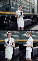 Women Office Ladies Short Sleeve Elegant Top And Pencil Skirt Suit 2 Piece Set Business Formal Work Wear Summer 2020 Uniform