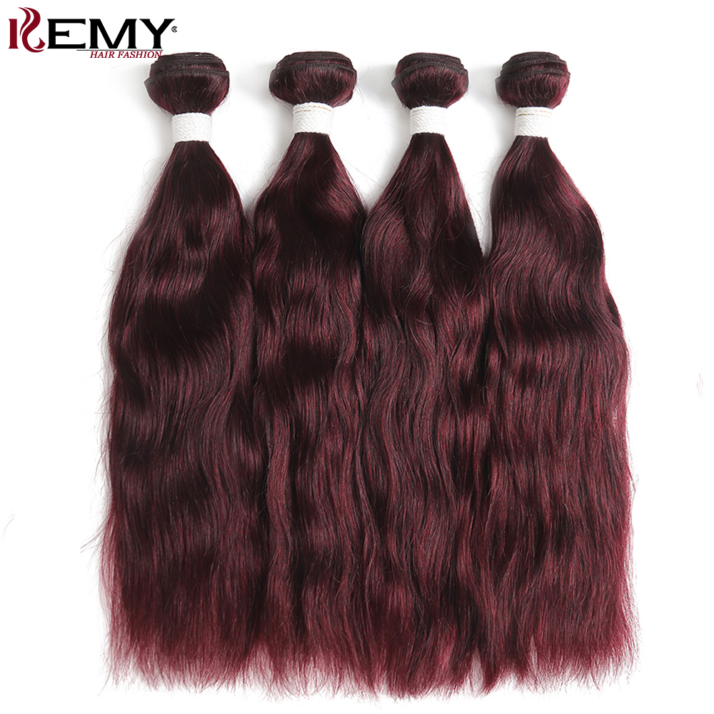 99J/Burgundy Natural Wave Human Hair Weaves Bundle KEMY HAIR 1/3/4 PCS Brazilian Human Hair Extensions Non-Remy Red Hair Bundles