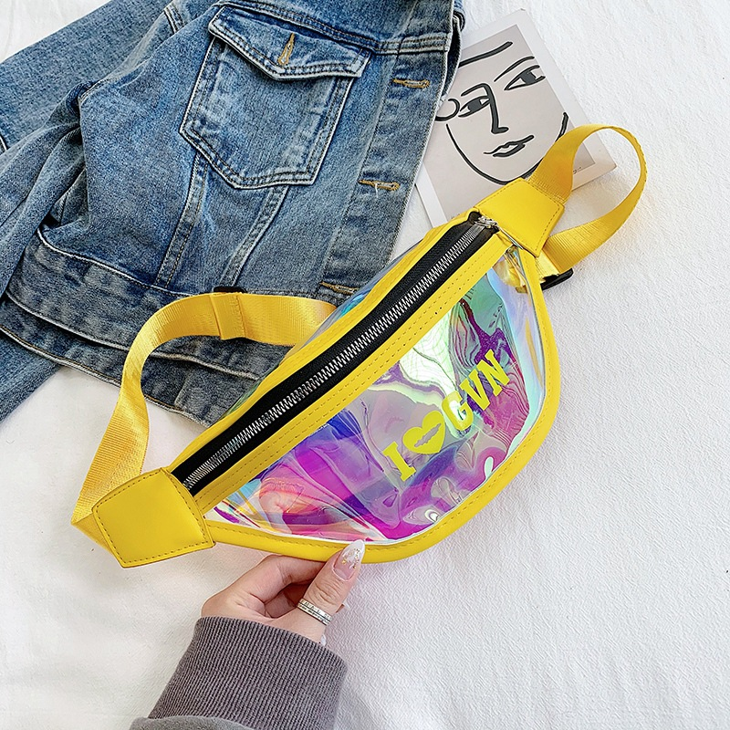 Waist Bags Women Pink Silver Fanny Pack Female Banana Belt Bag Wallet Bag Transparent Letter Waist Packs Laser Chest Phone Pouch
