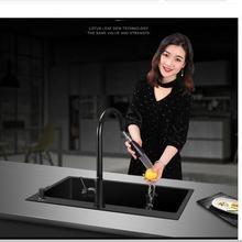 Double bol en acier inoxydable 304, accessoires de Cuisine avec égouttoir ou livraison directe, lavabo noir