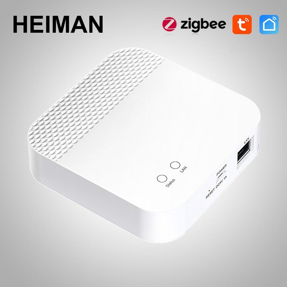 HEIMAN Smart Home Zigbee Tuya Gateway WIFI Control Center Hub intelligent linkage zigbee sensor and detector APP remote alarm