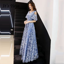 Женское вечернее платье it's yiiya голубое длинное с вышивкой
