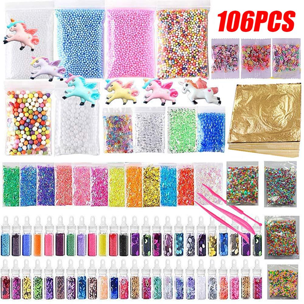 106 Pack Making Kits Supplies For Slime DIY Handmade Color Foam Ball Granules Slime Making Material Set