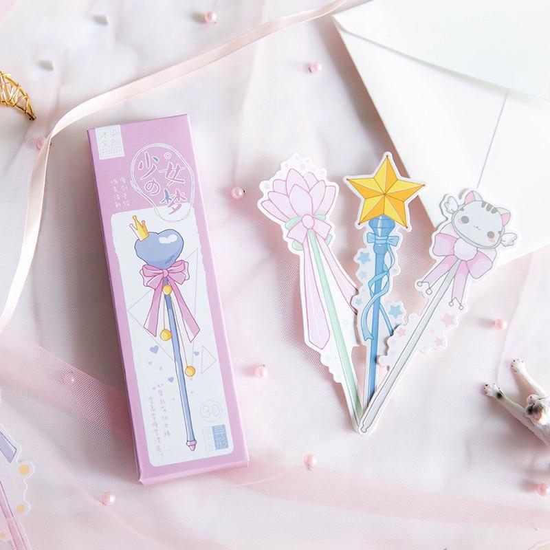 30Pcs/Set Magic Sticks Bookmark Message Card Creative Pink Girl Heart Paper Bookmarks Book Holder School Office Material Escolar