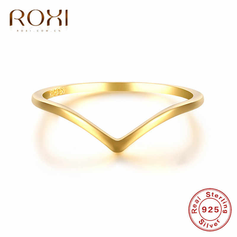 ROXI เครื่องประดับ Minimalist Silver เรขาคณิตแหวน 925 เงินสเตอร์ลิง Simple V รูปร่างแหวนของขวัญ Knuckle MIDI Finger แหวน