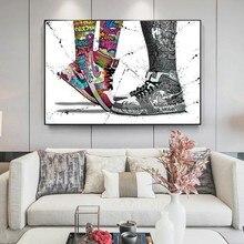 Baskets en toile avec Graffiti, affiches et imprimés, chaussures de Sport Pop Street, images murales pour décoration de salon de maison moderne