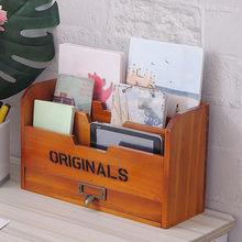 Solid Wood Home Desktop Finishing Box Document Certificate Magazine Book Letter Storage Box Desk Storage Holder 3 Tier Design
