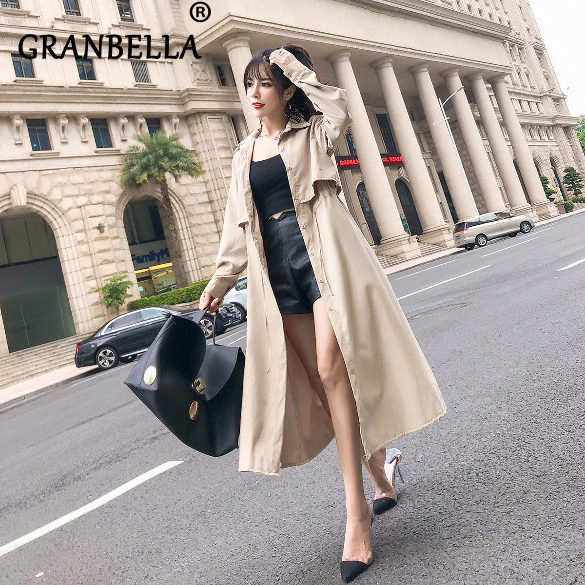 New Spring and Summer Korean Edition Windbreaker Thin   Trench   Coat Fashion City Lady Single Breasted Long Sleeve