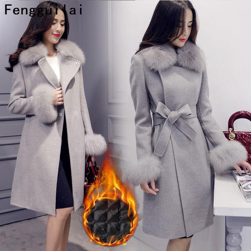 Elegant Fashion Long Wool Coat Collar Detachable Fur Collar Wool Blend Coat And Jacket Solid Women Coats Autumn Winter